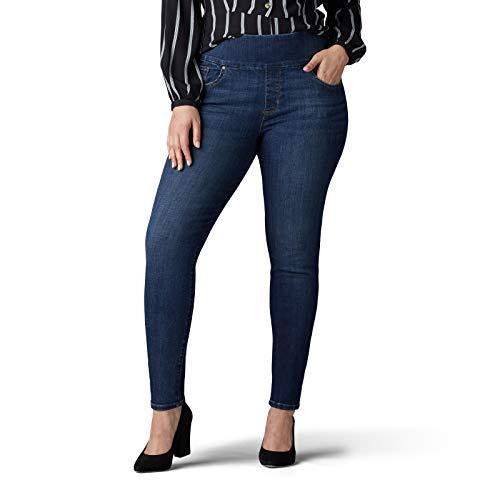 Lee Women's Plus Size Sculpting Slim Fit Skinny Leg Pull on Jean, Landslide, 24W Medium