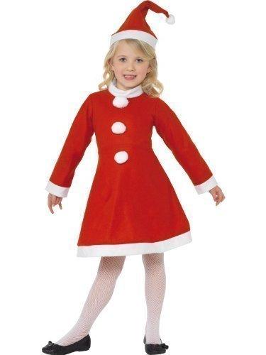 Fancy Me Enfants Filles mme. Mlle Père Noël Père Noël Noël Noel Cadeau Festif Costume déguisement - Rouge, Rouge, 4-6 Years