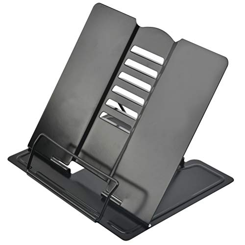 QLOUNI Soporte de Libro Ajustables de Altura de 6 Paradas Adecuado para Libros más Ligeros como Partituras y Documentos 21 * 19cm (Negro)