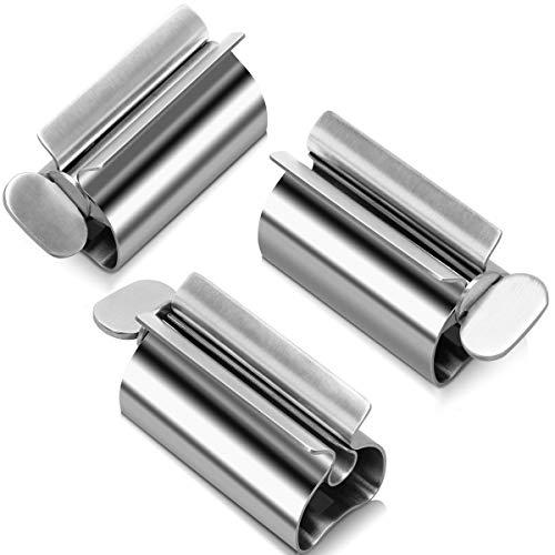Zhichengbosi 3 Stücke Rollen Tube Zahnpasta Squeezer, Edelstahl Zahnpastaspender Zahnpastasitzhalter für Badezimmer (Silber)