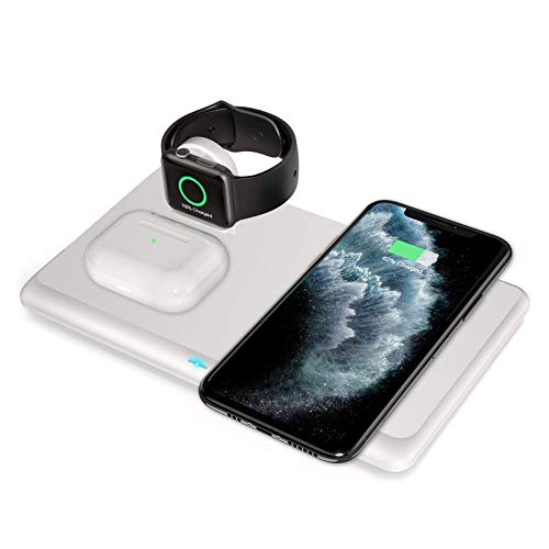 Wireless Charger, 3 in 1 Fast Qi Wireless Charging Station for AirPods,Wireless Charging Stand for iWatch 6/5/4/3/2/iPhone 12/11/11 Pro/SE/SE2/X/XS/XR/XS Max/8/8 Plus,Charging Station for Samsung