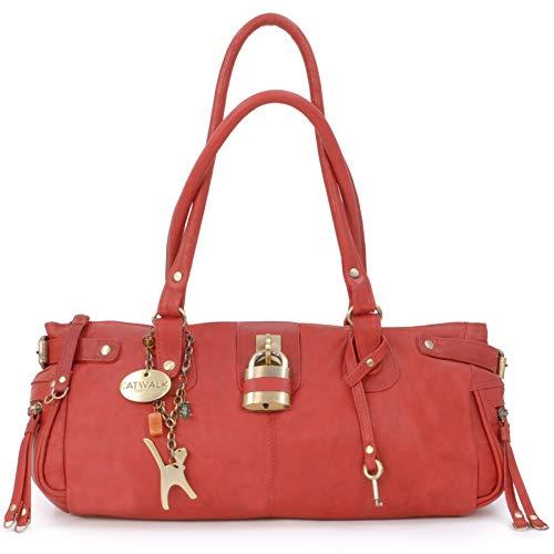 Catwalk Collection Handbags - Leder - Umhängetasche/Lederhandtasche - CHANCERY - Rot