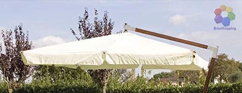 BricoShopping Ricambio Telo per Ombrellone decentrato a Braccio da Giardino con 8 Stecche palo in Legno o Alluminio Quadrato 3x3 Solo Top Superiore di Copertura con Airvent Universale Impermeabile