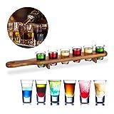 Relaxdays 10022788 Set Bicchieri Shot, 6 Bicchierini da Liquore 4 cl, Pratico Vassoio 1/2 ...