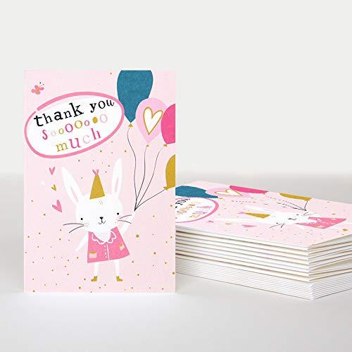 Kinderdank Kaarten - Bunny en Ballonnen door Caroline Gardner - 10 Gevouwen notecards in een Pack