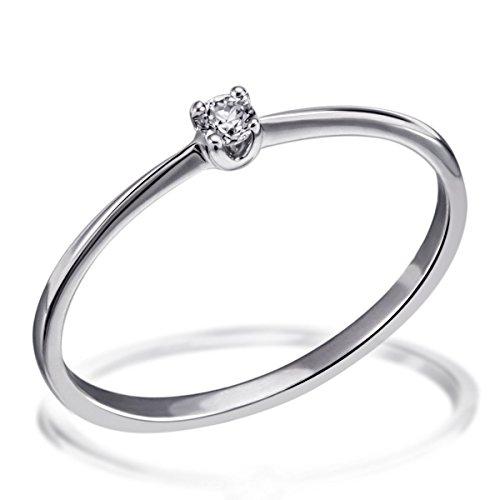 Goldmaid Damen-Ring Solitär Verlobungsring 375 Weißgold 1 Brillant 0,07 ct. Gr. 56 So R4707WG56 Ehering Trauring Schmuck
