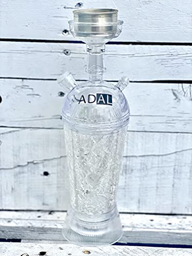 ADAL ICE-Shisha | Kühler- Shisha Rauch | ICE Travel-Shisha | Komplett-Set inkl. abnehmbarer LED Untersetzer + Zange & Schlauch | Für Zuhause & Unterwegs | Plexiglas - Acryl (Weiß)