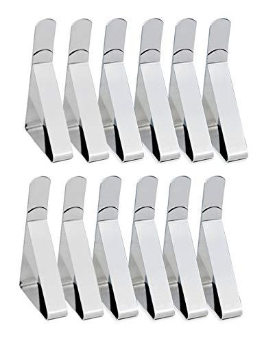 YMWALK Tischdeckenclips, 12 Stück verstellbare Tischdeckenclips Edelstahl Tischdeckenklemmen Tischdeckenhalter für Zuhause, Essen, Picknick, Party und Hochzeit
