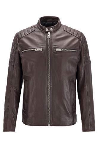 BOSS Mens Jeean Leather Jacket, Dark Brown (201), 50