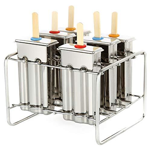 ACAMPTAR 6 Stks IJsvormen IJsblokjes En Popsicle Maker Mould Gereedschap Met Platte Dubbele Groef En RVS Plank