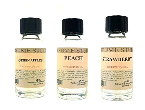 Perfume Studio Fragrance Oil Set 3-Pk 1oz Each for Making Soaps, Candles, Bath Bombs, Lotions, Room Sprays, Colognes (Aromatic Fruity, Green Apples, Peach, Strawberry)