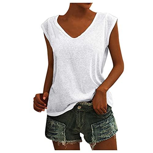 LalalukaT-ShirtDamenOberteileEinfarbig Ärmellose V-Ausschnitt Lassige BluseTShirtFrauen SommerOberteil KurzarmshirtTshirt TunikaTopTshirtHemdLongshirtSweatshirt