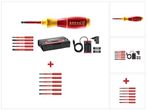 Wiha speedE® elektronischer Schraubendreher - Set 1 in L-Box mit 2x 1,5 Ah Akku und Ladegerät + Bits (41911) + Bit Set slimBit electric Torx Satz 6 - teilig