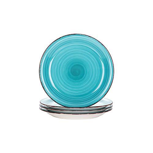 vancasso Serie Bella Juego de Platos 4pcs Bobina Pintado a Mano Gres Esmaltada Platos Servicio para Postre, Azul
