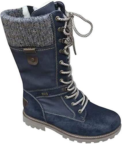 Bottes mi-mollet en tricot avec fermeture éclair sur le côté pour femme, bottes d'équitation chaudes à boucle, chaussures de combat, bottines noires à lacets et talons bas - 41 _ Noir