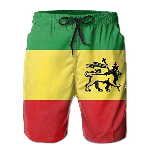 OQUYCZ Rasta Lion of Judah Mens Quick Dry Swim Trunks Athletic Beach Board Shorts Pants
