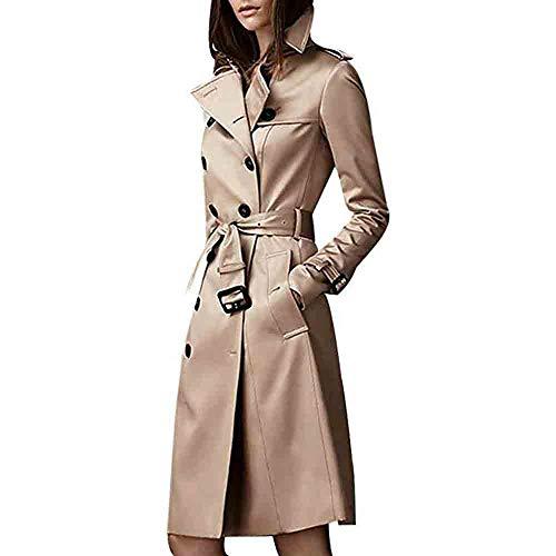 iHENGH Damen Winter Jacke Warm Bequem Parka Mantel Lässig Mode Frauen Slim Revers Zweireiher SlimLong Trenchcoat(Khaki,M)