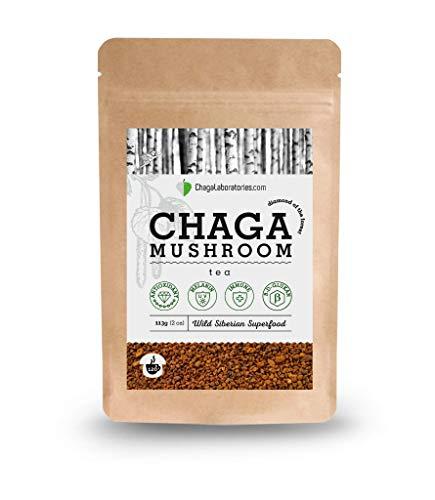 ChagaLaboratories - Chaga Pilz Tee aus sibirischer Wildsammlung als Nahrungsergänzungsmittel, 100%Chaga Körnchen, 113 Gramm