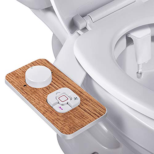 Bidet Attachment - SAMODRA Non-electric Cold Water Bidet Toilet Seat Attachment with Pressure Controls,Retractable Self-cleaning Dual Nozzles for Frontal & Rear Wash - Wood Grain