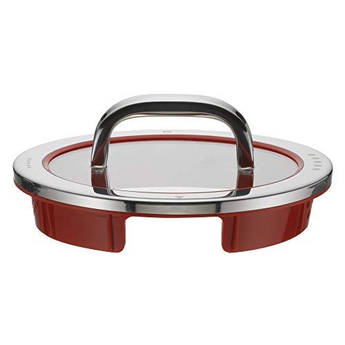 WMF Function 4 Topfdeckel 16 cm, Glasdeckel mit 4 Abgießfunktionen, Glas, Silikon, Cromargan Edelstahl poliert, rot