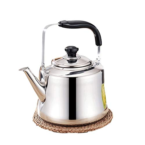 YMSH Stainless Steel Thickened Kettle, Kettle, Gas, Whistle, Flat, Household, Large Capacity, Water, Induction Cooker, 5L (Color : Silver, Size : 5L)