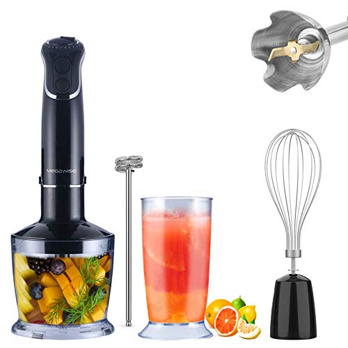 5-in-1 Immersion Hand Blender, MEGAWISE Powerful 800 Watt 12-Speed Stick Blender with...