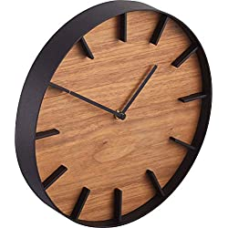 Red Co. Minimalist Round Metal Wall Clock with Wooden Face, 10 inch Black Frame