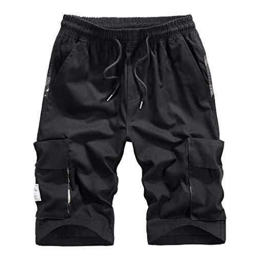 Herren Cargo Shorts Pants Bermuda Cargo Kurze Hose Vintage Short Pure Color Shorts Casual 3/4 Shorts (Black -2, XXXL)