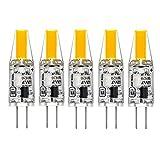 G4 LED Bombilla de COB, AC 220V 2W G4 Lámpara Equivalente a Lámpara Halógena 25W, 2700K Luz Blanca Cálida Luz Impermeable Paquete de 5
