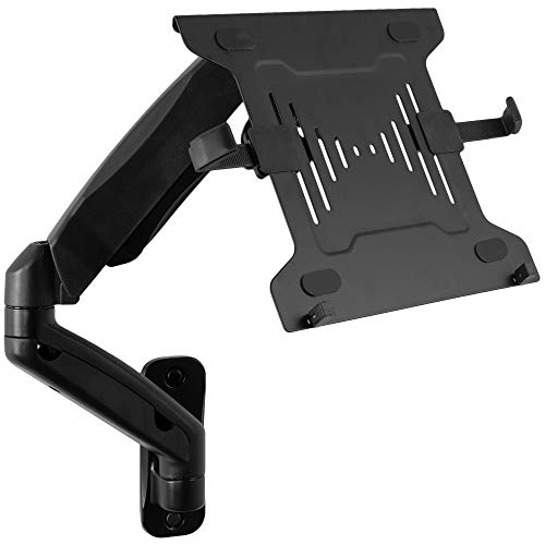VIVO Universal 10 to 15.6 inch Laptop Wall Mount, Height Adjustable Pneumatic Extended Arm, Full Motion Articulating Notebook Tray for Home and Professional Use, Black (MOUNT-V001GL)