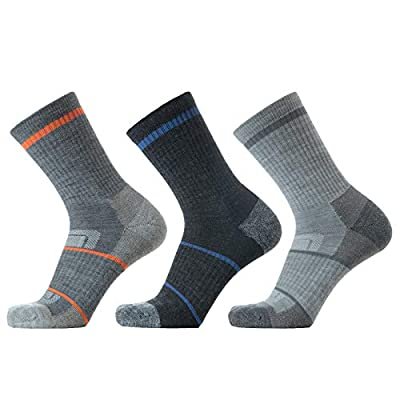 SOLAX 72% Men's Merino Wool Hiking Socks, Outdoor Trail,Trekking, Cushioned, Breathable Crew Socks 3 Pack (L,Asst136)