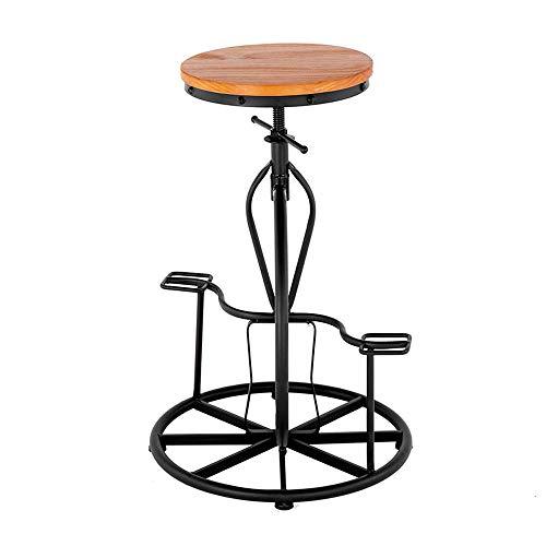 Bar, industrieel, in hoogte verstelbaar, draaibaar, van hout, kruk, met metalen wiel, voor fiets, relax, stoelen voor ontvangst, keuken J1124