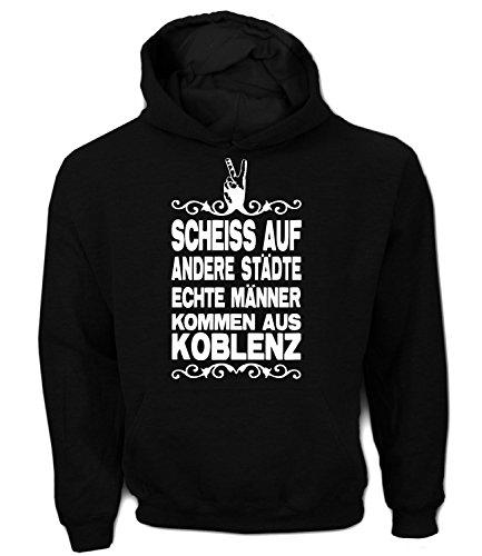 Artdiktat Herren Hoodie - Scheiß auf andere Städte - Echte Männer kommen aus Koblenz Größe XL, Schwarz