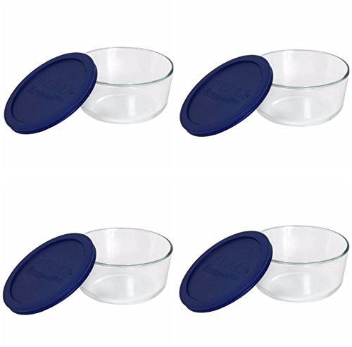 Pyrex Storage 4-Cup Round Dish with Dark Blue Plastic Cover, Clear (Case of 4 Containers)