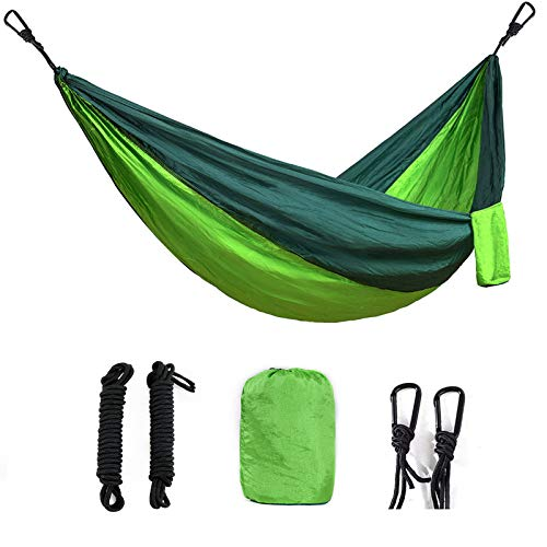 Camping Hammock Lightweight Portable Parachute Nylon Hammock Set for Indoor and Outdoor Deep Green/Fruit Green 2 Person