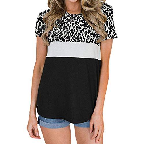 VJGOAL dames t-shirt, vrouwen meisjes elegant klassiek grote maten korte mouwen zomer mode ronde hals luipaard top blouse