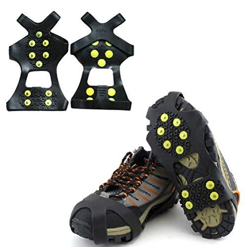 Tacos de tracción de 10 dientes para caminar sobre hielo y nieve, robustos pinchos crampones antideslizantes, ideales para caminar, senderismo, trotar, acampar, montañismo
