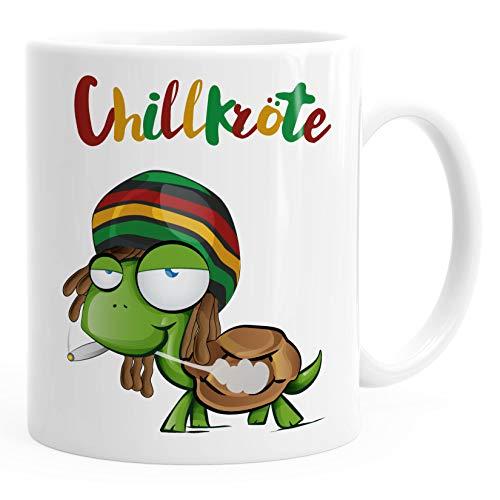 MoonWorks® Kaffee-Tasse Chillkröte Schildkröte Rastafrisur Joint Comic Stil Kaffeetasse Fun-Tasse weiß Keramik-Tasse
