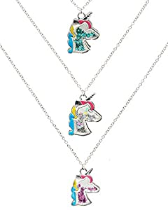 Pack includes 3 sparkly glitter filled unicorn necklaces; 16 inch chains with 3 inch extenders to fit your desired length; Pendant size 21mm x 28mm Spread love, joy, and magic everywhere you go with this girls unicorn jewelry set; 3 unique glitter co...