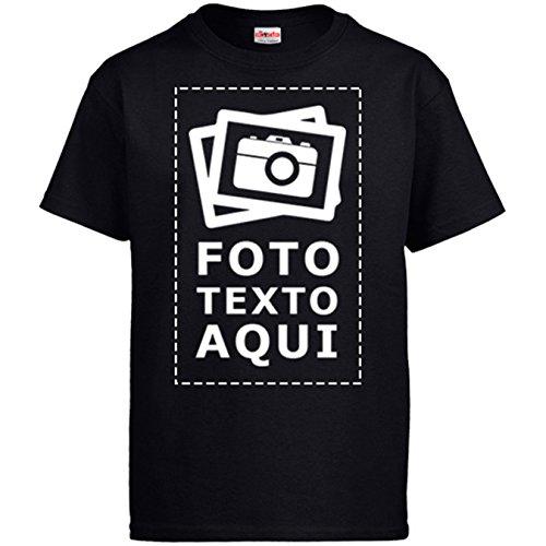 Diver Camisetas Camiseta Personalizada con Foto - Negro, L