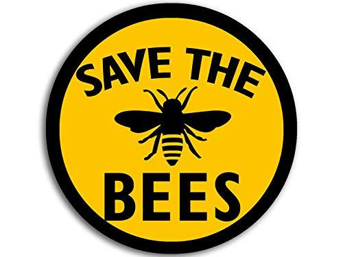 Round Save The Bees Sticker (Anti Life Health Farm Vegan Organic Beekeeper Yellow)