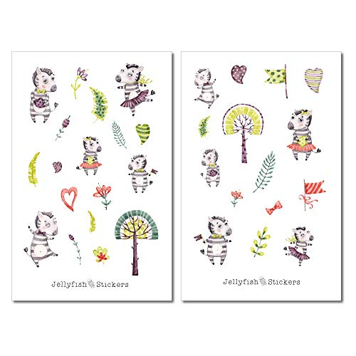 Zebra Kinder Sticker Set | Süße Aufkleber | Journal Sticker | Sticker Tiere | Planersticker | Sticker Wildnis, Sticker Afrika