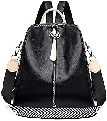 JSJJAUJ Backpack New Women Backpacks Soft Leather Backpack Fashion Anti-Theft Shoulder School Bag for Girls Quality Travel Bag (Color : Black, Size : 13 Inches)