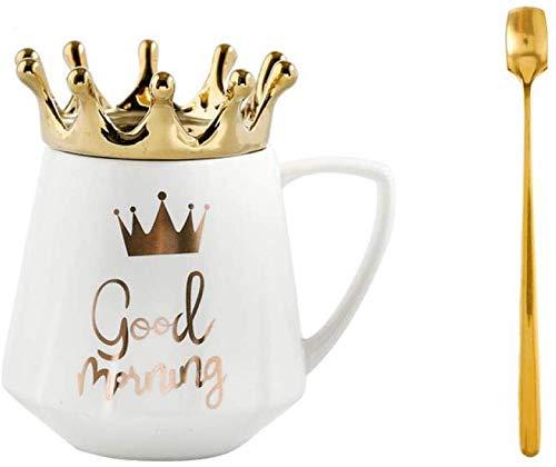 MUXUE Keramik Kaffeetasse Kronen Teetassen mit Deckel und Löffel, Elegante Milchbecher Porzellan Tasse, Kreative Geschenke für Freunden und Familien,12 oz /300 ml
