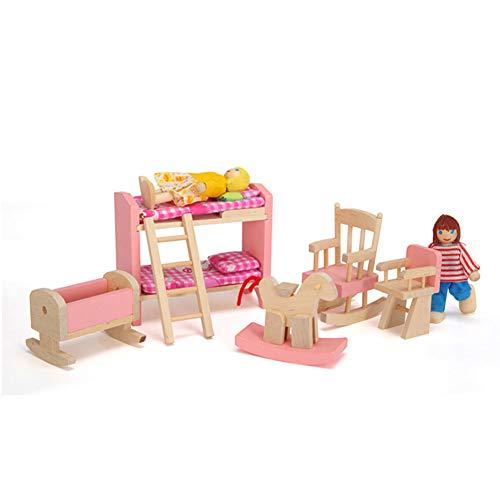 Casa de Muñecas Accesorios, Muebles Casa de Muñecas, Muebles de Madera en Miniatura Conjunto de Muebles de litera Cuna para niños Niños Niños Regalo Casa Mini Muebles Juguete