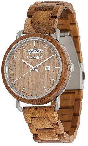 LAiMER Holzuhr FINN - Herren Armbanduhr aus Teakholz, Grosse Datums und Tagesanzeige, atmungsaktives Holzarmband, federleicht, Geschenk- Verpackung aus Holz