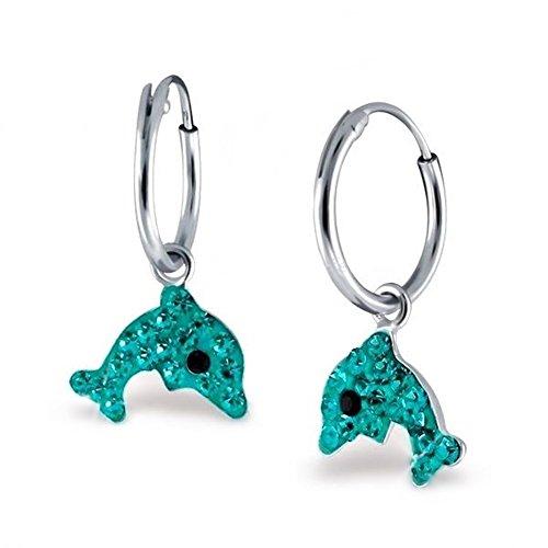 Kristall Delfin Creolen Ohrringe 925 Echt Silber Mädchen Kinder Ohrhänger Delphin (Türkis)