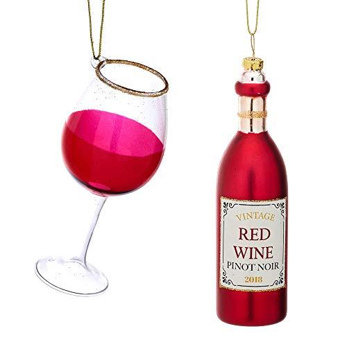 itsisa Baumschmuck Rotwein 2er Set - Weinflasche & Wein Glas, Baumkugel, Weihnachtsdeko, Christbaumkugel