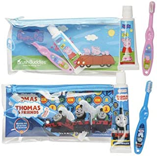 Brush Buddies Peppa Pig Travel Toothbrush Toothpaste Kit for Children, boy, Girls - 2pack (Peppa Pig and Thomas)