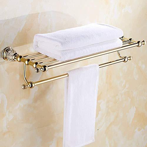 Toallero de baño de latón y cristal dorado para hotel, hogar, baño, estante de almacenamiento de 60 cm